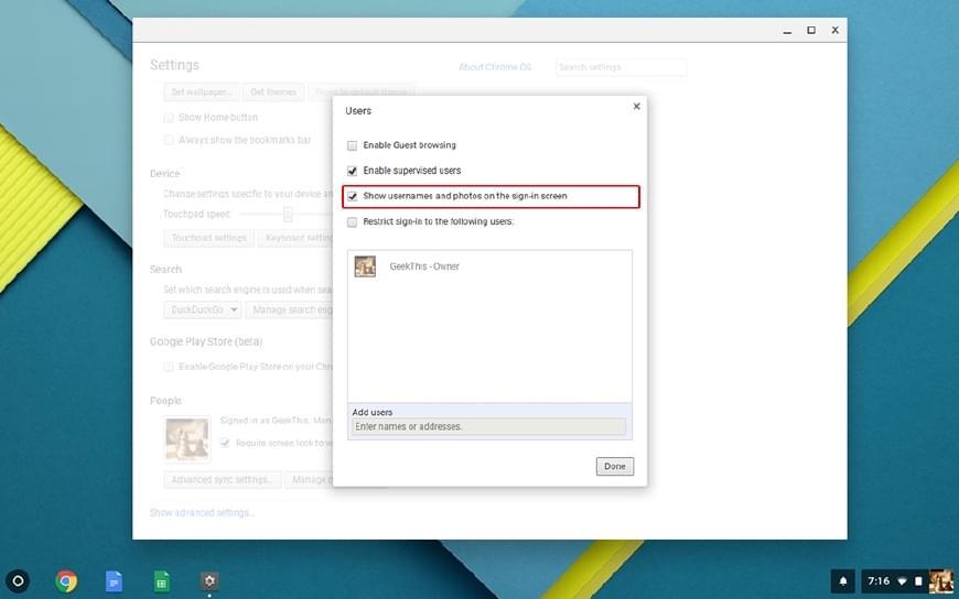 Chrome OS Settings