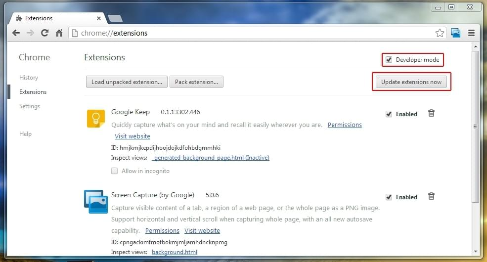 Update Chrome Extensions