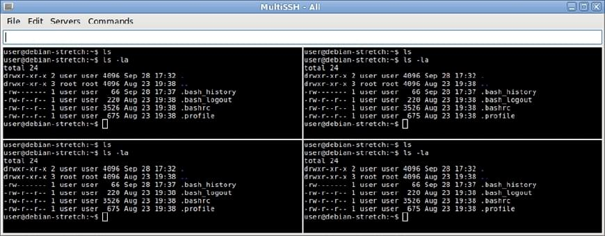 MultiSSH MSSH Tool connected to multiple SSH servers.